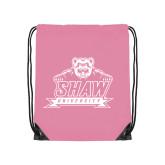 Light Pink Drawstring Backpack-Shaw University Primary