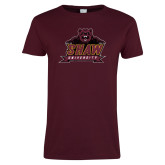 Ladies Maroon T Shirt-Shaw Distressed
