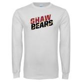 White Long Sleeve T Shirt-Shaw Bears Lined Design