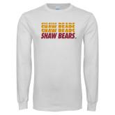 White Long Sleeve T Shirt-Shaw Bears Repeating