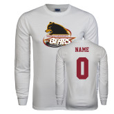 White Long Sleeve T Shirt-Primary Mark, Personalized Name and #