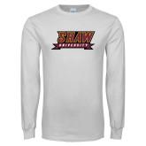 White Long Sleeve T Shirt-Shaw University Stacked Logo