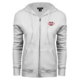 ENZA Ladies White Fleece Full Zip Hoodie-Shaw U