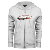 ENZA Ladies White Fleece Full Zip Hoodie-Lady Bears