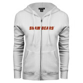 ENZA Ladies White Fleece Full Zip Hoodie-Shaw Bears