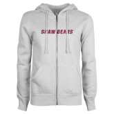 ENZA Ladies White Fleece Full Zip Hoodie-Primary Mark Hot Pink Glitter