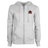 ENZA Ladies White Fleece Full Zip Hoodie-Shaw University Primary