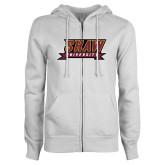 ENZA Ladies White Fleece Full Zip Hoodie-Shaw University Stacked Logo