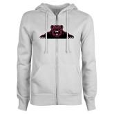 ENZA Ladies White Fleece Full Zip Hoodie-Bear Logo