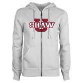 ENZA Ladies White Fleece Full Zip Hoodie-Shaw U Logo