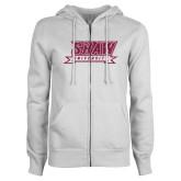 ENZA Ladies White Fleece Full Zip Hoodie-M Hot Pink Glitter