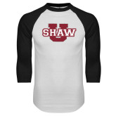 White/Black Raglan Baseball T Shirt-Shaw U