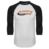 White/Black Raglan Baseball T Shirt-Lady Bears