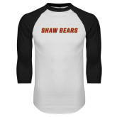 White/Black Raglan Baseball T Shirt-Shaw Bears