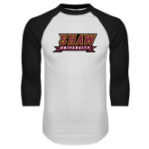 White/Black Raglan Baseball T Shirt-Shaw University Stacked Logo