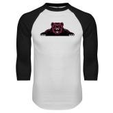 White/Black Raglan Baseball T Shirt-Bear Logo