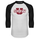 White/Black Raglan Baseball T Shirt-Shaw U Logo