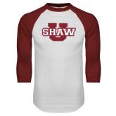 White/Cardinal Raglan Baseball T Shirt-Shaw U