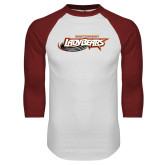 White/Cardinal Raglan Baseball T Shirt-Lady Bears