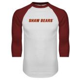 White/Cardinal Raglan Baseball T Shirt-Shaw Bears