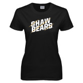Ladies Black T Shirt-Shaw Bears Lined Design