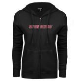 ENZA Ladies Black Fleece Full Zip Hoodie-Shaw Bears