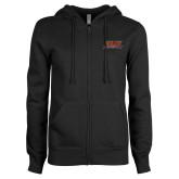ENZA Ladies Black Fleece Full Zip Hoodie-Shaw University Stacked Logo