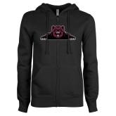 ENZA Ladies Black Fleece Full Zip Hoodie-Bear Logo