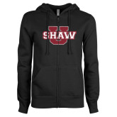 ENZA Ladies Black Fleece Full Zip Hoodie-Shaw U Logo