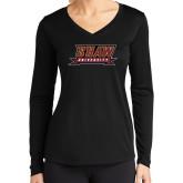 Ladies Syntrel Performance Black Longsleeve Shirt-Shaw University Stacked Logo