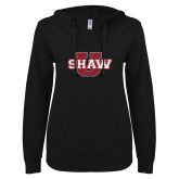 ENZA Ladies Black V Notch Raw Edge Fleece Hoodie-Shaw U