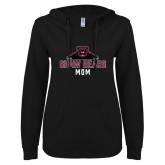 ENZA Ladies Black V Notch Raw Edge Fleece Hoodie-Mom
