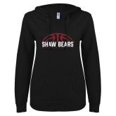 ENZA Ladies Black V Notch Raw Edge Fleece Hoodie-Basketball Half Ball Design