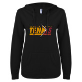 ENZA Ladies Black V Notch Raw Edge Fleece Hoodie-Abstract Tennis Design