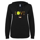 ENZA Ladies Black V Notch Raw Edge Fleece Hoodie-Love Tennis