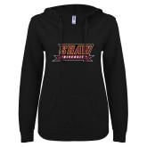ENZA Ladies Black V Notch Raw Edge Fleece Hoodie-Shaw University Stacked Logo