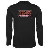 Performance Black Longsleeve Shirt-Shaw University Stacked Logo