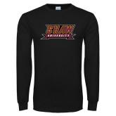 Black Long Sleeve T Shirt-Shaw University Stacked Logo