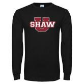 Black Long Sleeve T Shirt-Shaw U Logo