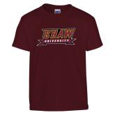 Youth Maroon T Shirt-Shaw University Stacked Logo