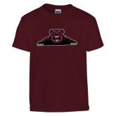 Youth Maroon T Shirt-Bear Logo