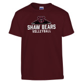 Youth Maroon T Shirt-Volleyball