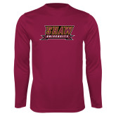 Performance Maroon Longsleeve Shirt-Shaw University Stacked Logo