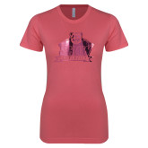 Next Level Ladies SoftStyle Junior Fitted Pink Tee-Shaw University Primary Foil