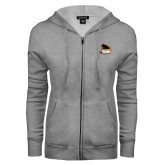ENZA Ladies Grey Fleece Full Zip Hoodie-Primary Mark