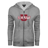 ENZA Ladies Grey Fleece Full Zip Hoodie-Shaw U