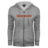 ENZA Ladies Grey Fleece Full Zip Hoodie-Shaw Bears