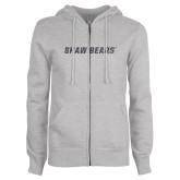 ENZA Ladies Grey Fleece Full Zip Hoodie-Primary Mark Graphite Soft Glitter