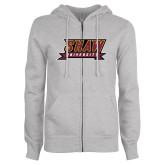 ENZA Ladies Grey Fleece Full Zip Hoodie-Shaw University Stacked Logo