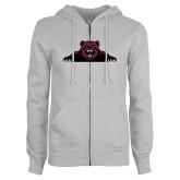 ENZA Ladies Grey Fleece Full Zip Hoodie-Bear Logo
